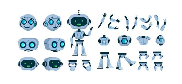 Futuristic robot constructor flat icon set