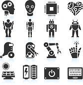 Futuristic Robotics and Artificial Intelligence black & white set