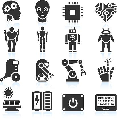 Futuristic Robotics and Artificial Intelligence black & white icon set
