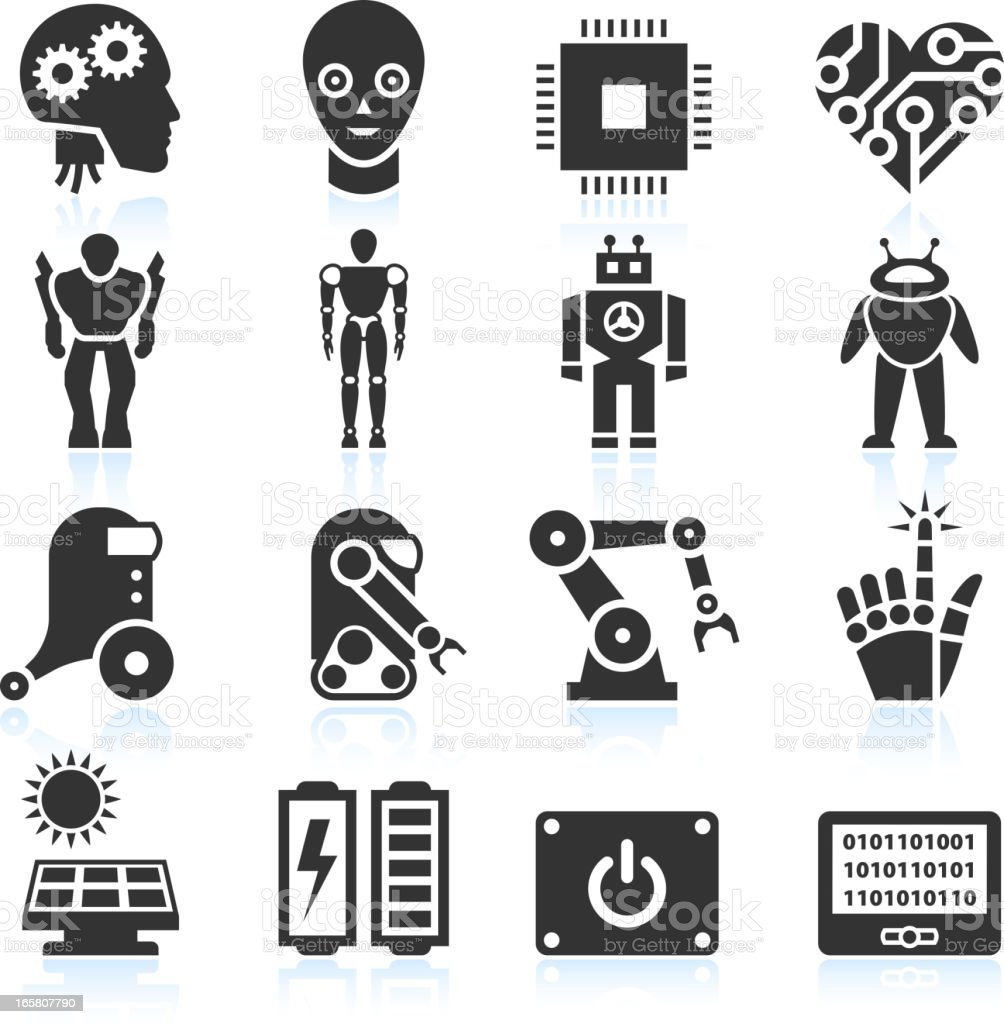 Futuristic Robotics and Artificial Intelligence black & white icon set vector art illustration