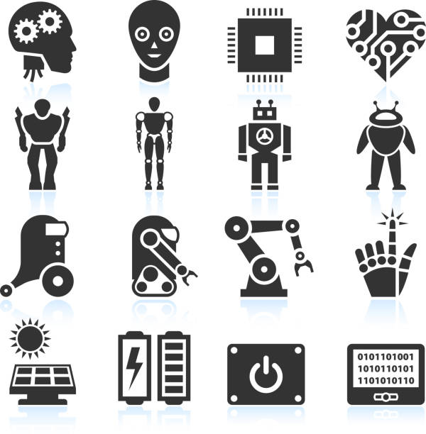 futuristic robotics and artificial intelligence black & white icon set - robotics stock illustrations, clip art, cartoons, & icons