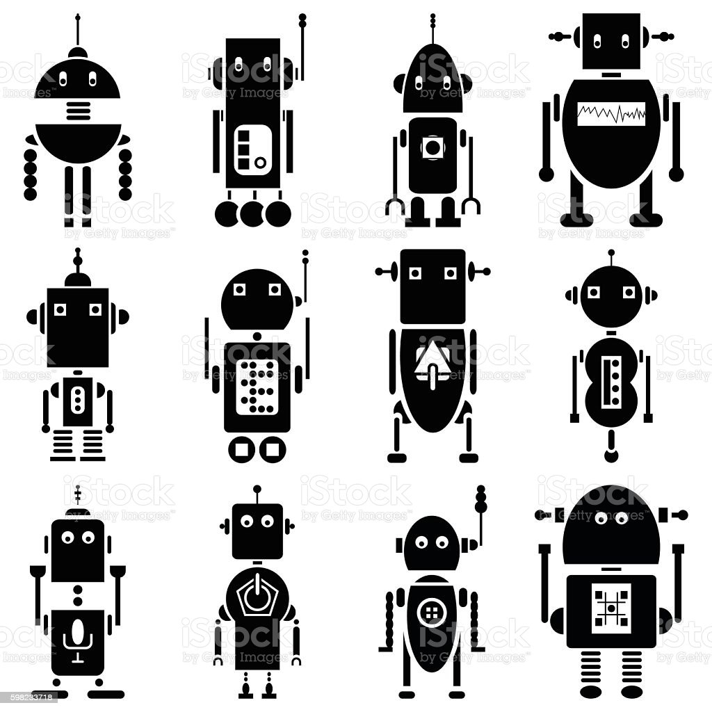 Futuristic robots in black and white set of 12 ilustração de futuristic robots in black and white set of 12 e mais banco de imagens de abstrato royalty-free