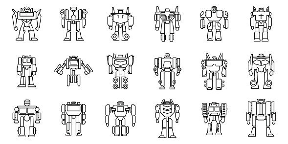 Futuristic robot-transformer icons set. Outline set of futuristic robot-transformer vector icons for web design isolated on white background