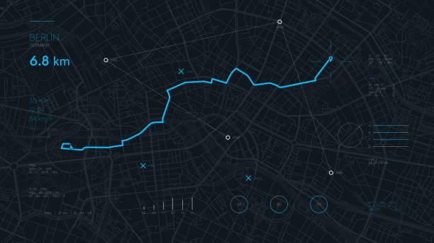 futuristische route armaturenbrett gps-tracking-karte, navigieren sie mapping-technologie und positionspin auf den straßen der stadt berlin - karte navigationsinstrument stock-grafiken, -clipart, -cartoons und -symbole