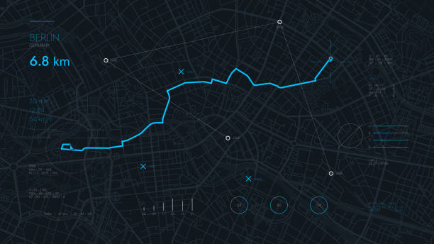 Futuristic route dashboard GPS tracking map, navigate mapping technology and locate position pin on the streets of the city Berlin Futuristic route dashboard GPS tracking map, navigate mapping technology and locate position pin on the streets of the city Berlin, high tech vector background global positioning system stock illustrations