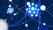 Futuristic scientific vector illustration - Atoms in the macrocosm.