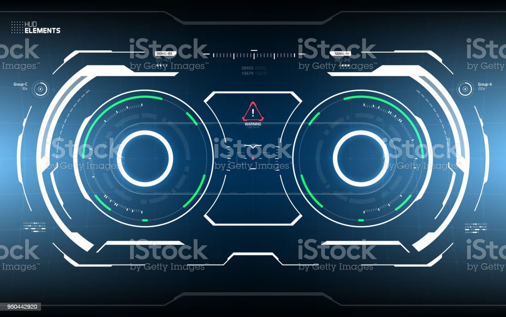 Futuristic Sci-Fi Technology HUD Screen vector art illustration