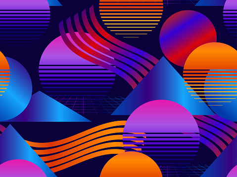 Futuristic seamless pattern with gradient. Geometric elements memphis in the style of 80's. Synthwave retro background. Retrowave. Vector illustration