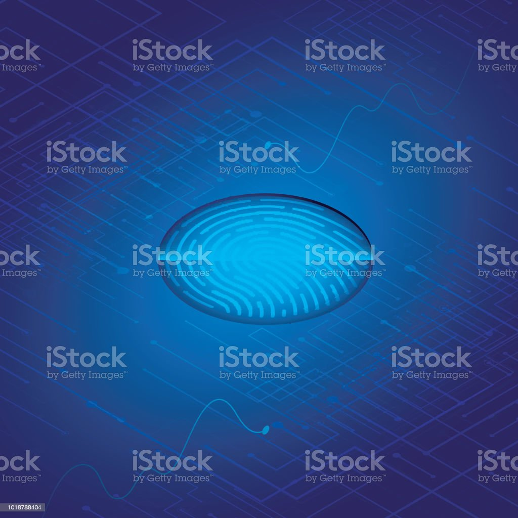 Futuristic security and technology concept, biometric identity and approval with fingerprint scanner. vector art illustration