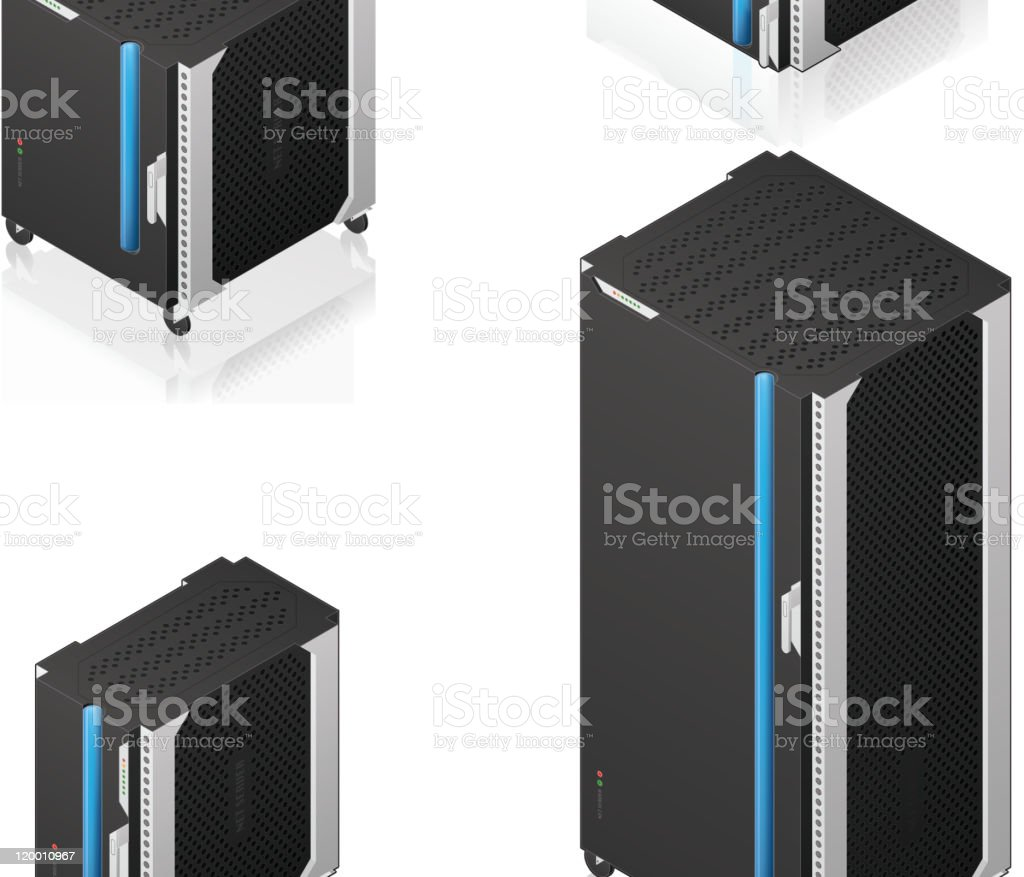 Futuristic Server Rack Family royalty-free stock vector art
