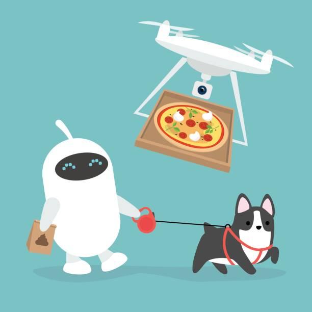 futuristische dienstleistungen: roboter, die zu fuß den hund und drohne pizza-bringdienst / flache bearbeitbares vektor-illustration, clipart - arbeitshunde stock-grafiken, -clipart, -cartoons und -symbole