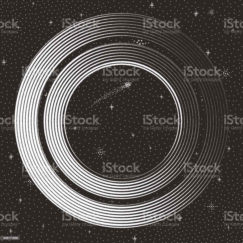 Futuristic Space and space station with stars and comet vector art illustration