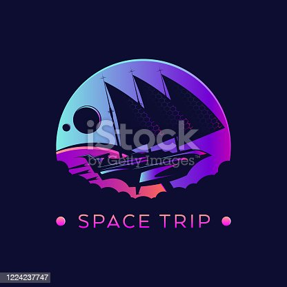 istock Futuristic space ship with sails in outer space - stylized vector emblem 1224237747