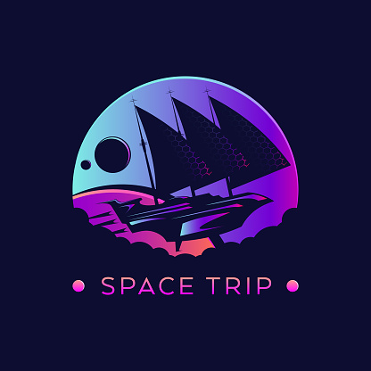 Futuristic space ship with sails in outer space - stylized vector emblem