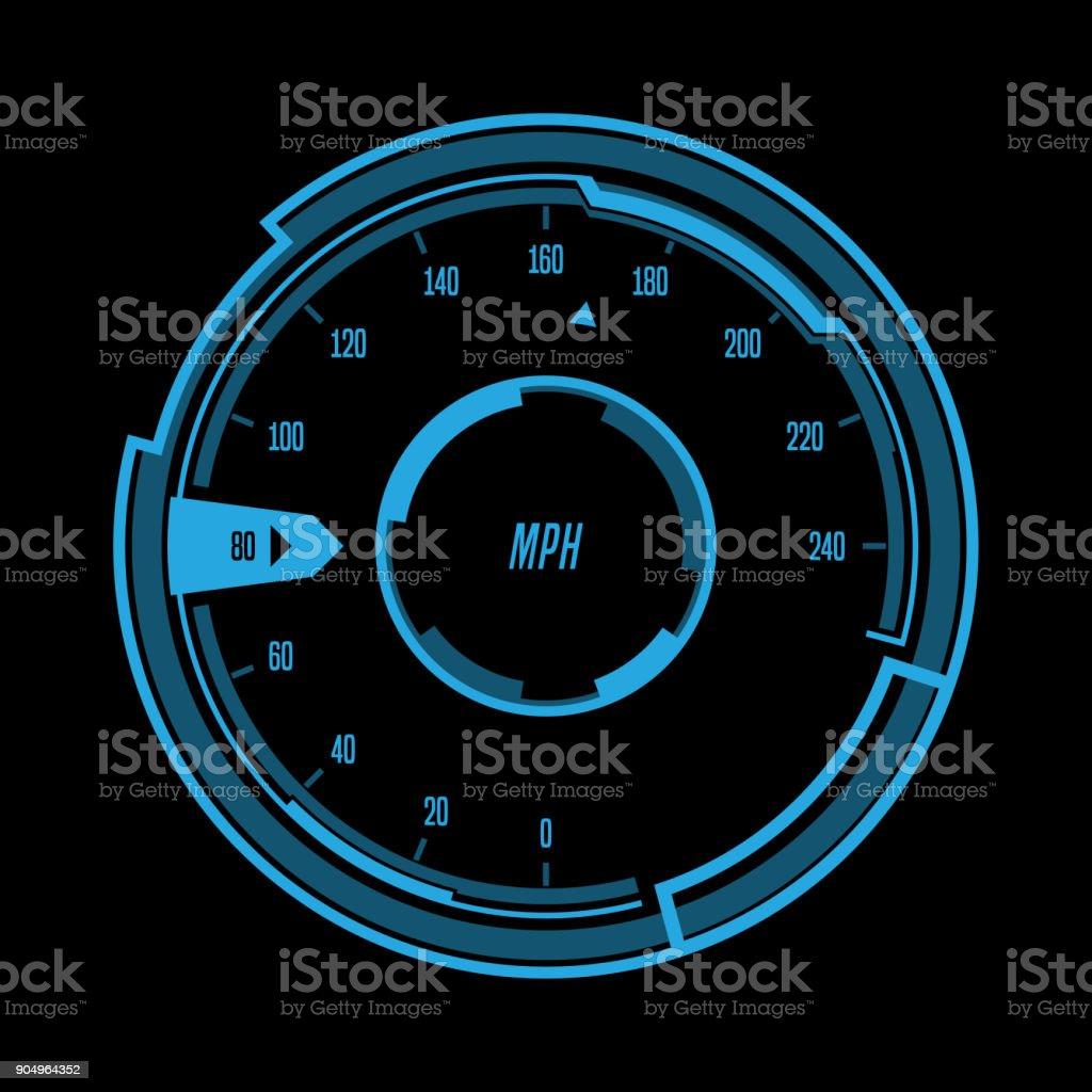 Futuristic Speedometer Interface vector art illustration
