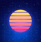Futuristic Sunset Illustration In Retro Style Vaporwave Synthwave Abstract Music Banner Or Cover Template With Star Sky And Blue Smoke Background Stock Illustration Download Image Now Istock