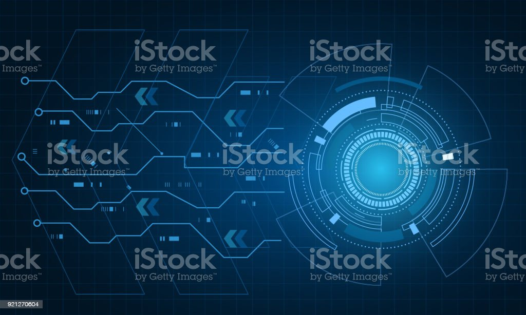 Futuristic technology abstract template , innovative virtual user interfaces , HUD , arrow speed, background vector vector art illustration