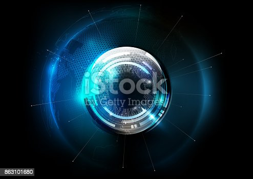 Futuristic technology globe glass sphere in hologram globalization concept, world map hexagon pattern transparent for digital graphic element, vector illustration