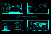 HUD Futuristic Technology Interface Screen Elements Panel Set Vector. Abstract Virtual Cyber Control Display Pack For Game App UI Illustration