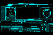 HUD Futuristic Technology Interface Screen Elements Panel Vector. Abstract Virtual Cyber Control Display For Game App UI Illustration