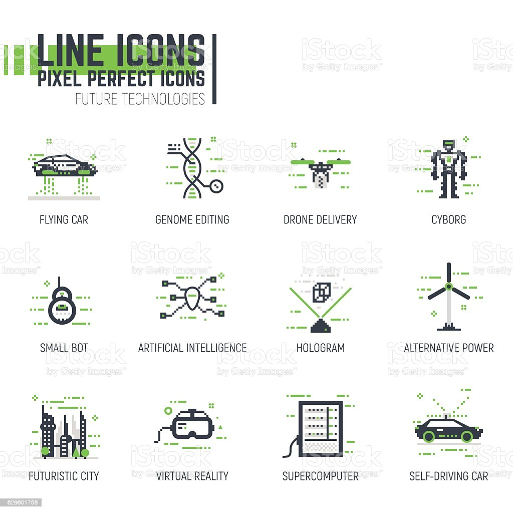 Futuristic technology line icons vector art illustration