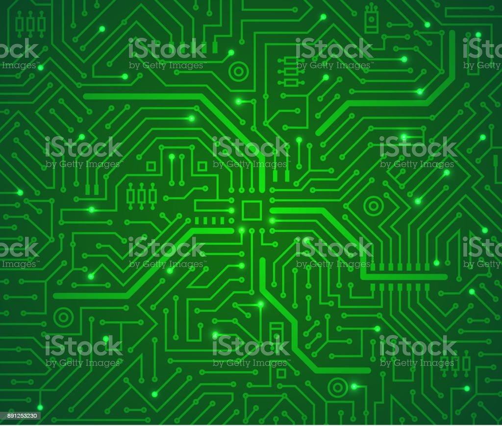 Futuristic Technology Scheme Green Background. Vector vector art illustration