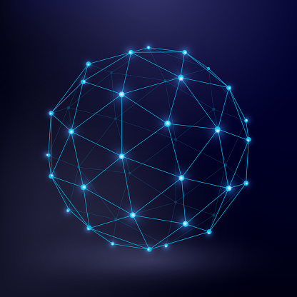 Futuristic technology vector background with wireframe connection circle graphic