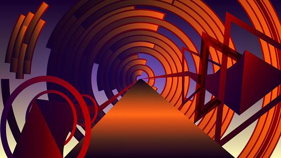 Futuristic three-dimensional geometric art - technological tunnel.