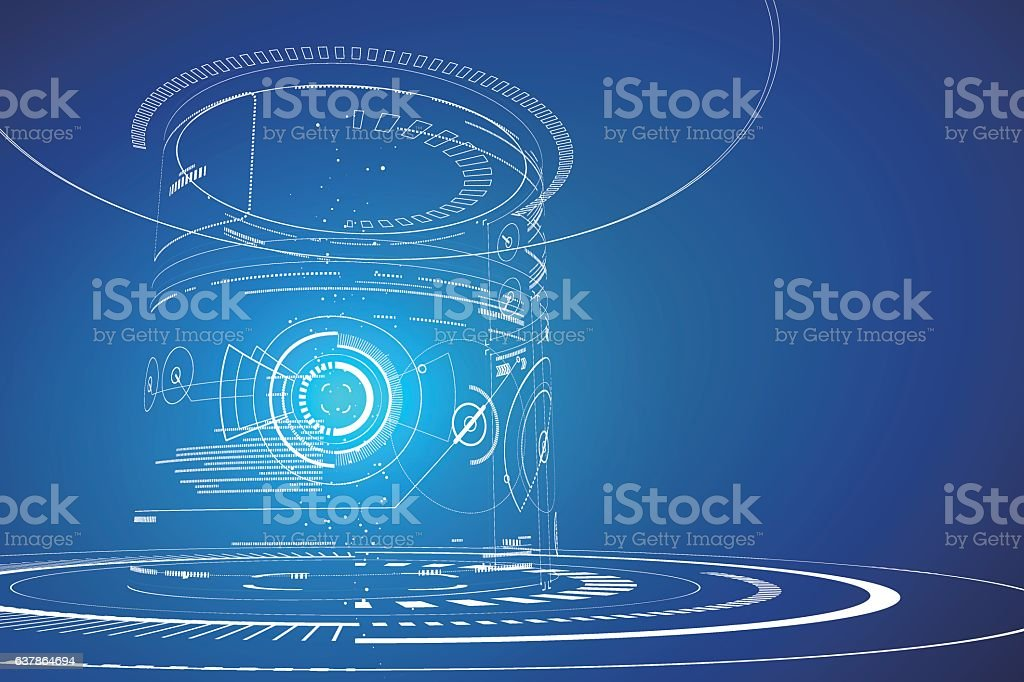 Futuristic three-dimensional interface, abstract graphic design. vector art illustration