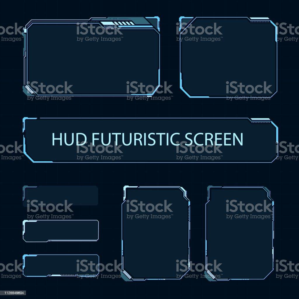 Tela de toque futurista da interface de usuário. Painel de controle moderno do HUD. Tela de alta tecnologia para vídeo game. Projeto de conceito de Sci-Fi. Ilustração em vetor. - Vetor de Cardápio royalty-free