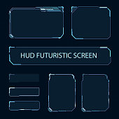Futuristic touch screen of user interface. Modern HUD control panel. High tech screen for video game. Sci-fi concept design. Vector illustration.