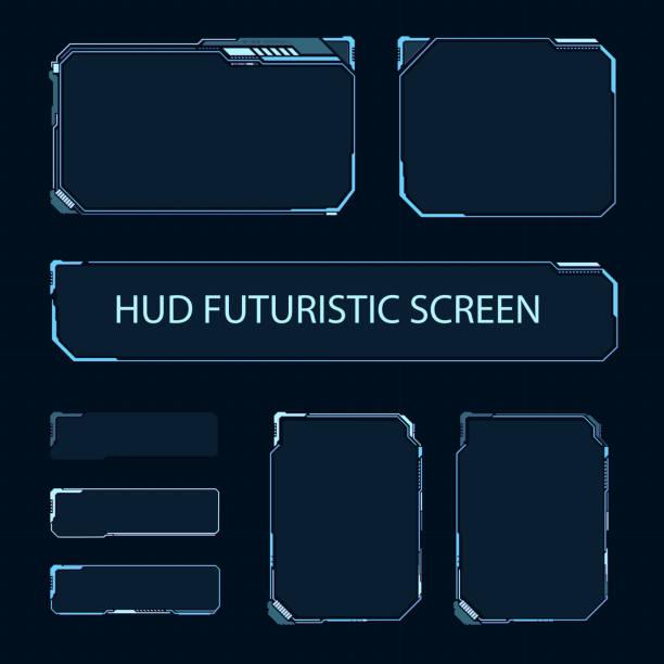 futurystyczny ekran dotykowy interfejsu użytkownika. nowoczesny panel sterowania hud. zaawansowany technologicznie ekran do gier wideo. projekt koncepcyjny sci-fi. ilustracja wektorowa. - futurystyczny stock illustrations