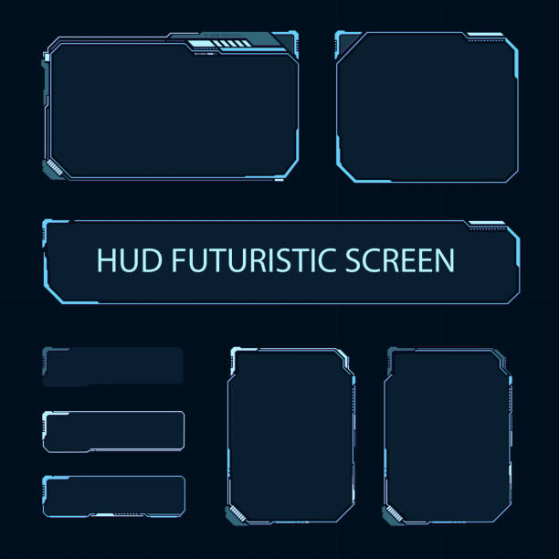 futuristic touch screen of user interface. modern hud control panel. high tech screen for video game. sci-fi concept design. vector illustration. - futurystyczny stock illustrations