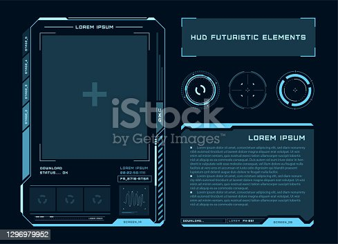 istock Futuristic touch screen of user interface. Modern HUD control panel. High tech screen for video game. Sci-fi concept design. Vector illustration. 1296979952
