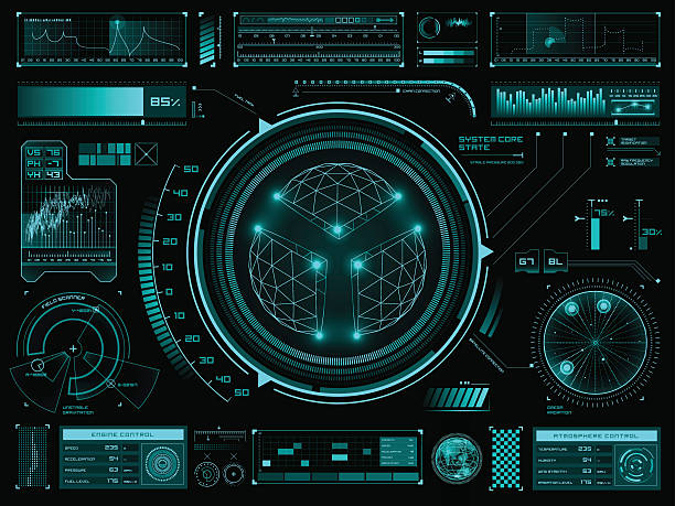 Futuristic touch screen user interface HUD Set of futuristic user interface elements for dashboard or control panel meter instrument of measurement stock illustrations