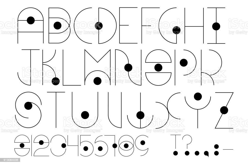 futuristische type engels alfabet in futuristische of kosmische