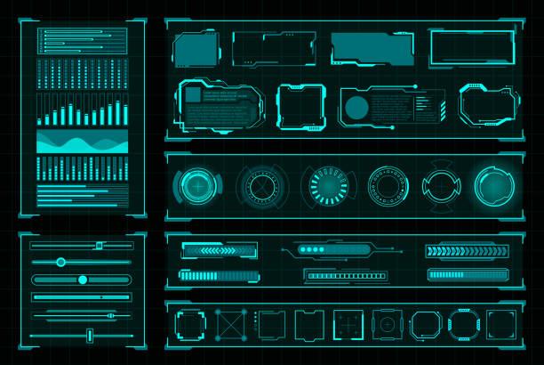 ilustrações de stock, clip art, desenhos animados e ícones de futuristic user interface digital design on black - hologram