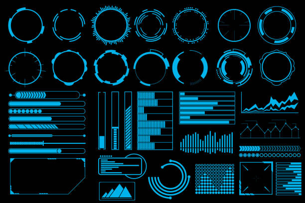 illustrations, cliparts, dessins animés et icônes de vecteur des éléments d'interface utilisateur futuriste ensemble - tableaux et graphiques