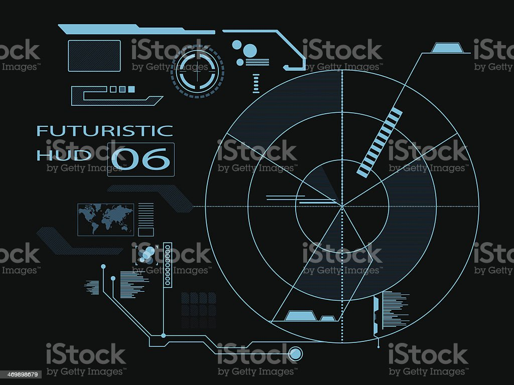 Futuristic user interface HUD colored in aqua and black royalty-free stock vector art