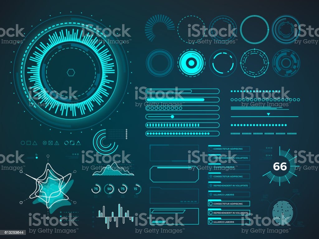 Futuristic user interface HUD. Infographic vector elements - Illustration vectorielle