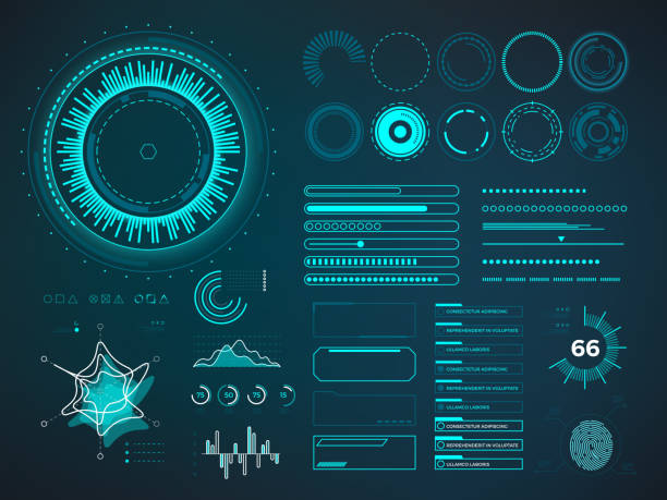 futuristic user interface hud. infographic vector elements - 收藏品 幅插畫檔、美工圖案、卡通及圖標