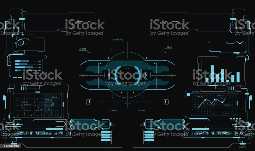 Futuristic user interface. HUD interface. Game interface vector art illustration