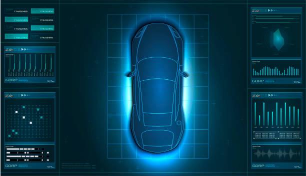 未來派使用者介面。hud ui。抽象虛擬圖形觸摸使用者介面。汽車資訊圖。 - 獨立 幅插畫檔、美工圖案、卡通及圖標