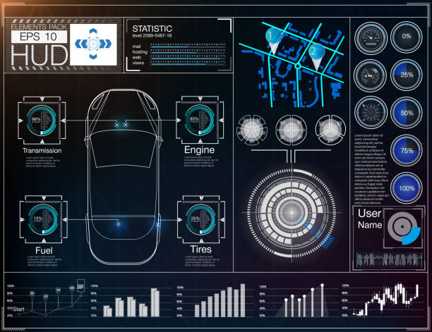 Futuristic user interface. HUD UI. Abstract virtual graphic touch user interface. Cars infographic. Futuristic user interface. HUD UI. Abstract virtual graphic touch user interface. Cars infographic. Vector science abstract.  Vector illustration. tire vehicle part stock illustrations