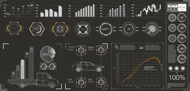 Futuristic user interface. HUD UI. Abstract virtual graphic touch user interface. Futuristic user interface. HUD UI. Abstract virtual graphic touch user interface. Cars infographic. Vector science abstract.  Vector illustration. tire vehicle part stock illustrations