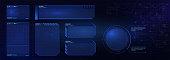 HUD futuristic user interface screen elements set. High tech screen for video game. Sci-fi concept design.