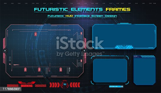 HUD, UI,UX GUI futuristic user interface screen elements set. High tech screen for video game. Sci-fi concept design. Callouts titles. Modern banners, frames
