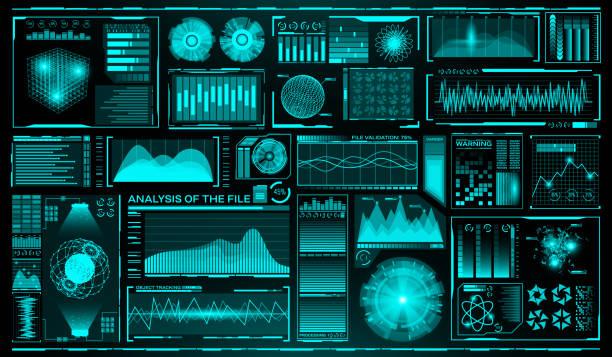 ilustrações de stock, clip art, desenhos animados e ícones de futuristic user interface set. hud. future infographic elements. technology and science theme. analysis system. scanning graphs and waves. vector illustration - visor digital