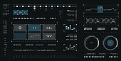Futuristic user interface. Spaceship screen elements set. Infographic display. Dark color graphic touch screen