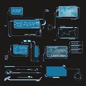 Element user interface. HUD. hi-tech main. Blue elements